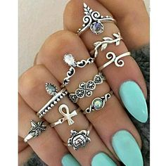 Street Style Stylish 10pcs/set Punk Chic Opal Crystal Flowers Rings - Accessories by Zeelous