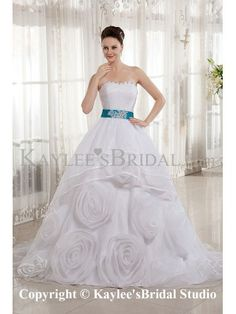 Organza Sweetheart Court Train Ball Gown Wedding Dress with Embroidered