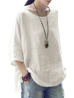 O-NEWE Vintage Loose Pure Color Sleeves Baggy Shirts can cover your body well, make you more sexy, Newchic offer cheap plus size fashion tops for women. Plus Size Vintage, Mode Vintage, Baggy Shirts, Women's Shirts, Linen Dresses, Plus Size Blouses, Chic Outfits, Fashion Outfits, Latest Fashion Trends