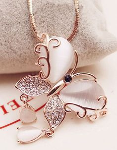 Women Butterfly Necklace for Women-Rose Gold Necklace-Rose Gold