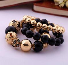 Women's Faux Gem Bead Bracelets 3PCS