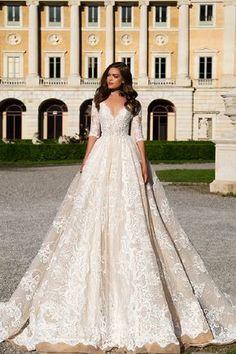 Tea length sleeve wedding dress - Milla Nova Wedding Dresses 2017 | itakeyou.co.uk #tealengthsleeve #sleeveweddingdress #weddingdress #weddingdresss #wedding #bridalgown #weddinggown #weddinggowns #bridalgown #bridalgowns
