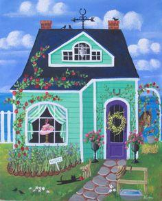 Impresión de arte popular Derby Lane Cottage por KimsCottageArt