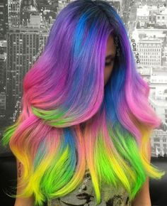 Multi-Colored Hair♡ #Hairstyle #Dyed_Hair #Beauty