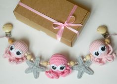 Pink Crochet octopus stroller toy Pram toy with octopus Crochet starfish pram chain Toddlers toy Crochet rattle Baby shower gift by PatiikCrochet on Etsy