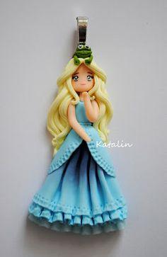 Frog Princess chibi polymer clay fimo doll necklace. By Katalin Handmade (2013) #fimo #polymerclay #doll #princess #kawaii