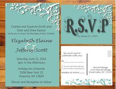 Printable Simply Elegant Wedding Invitation - Blue, Grey, White