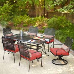 66.5 X 40 Hampton Bay Fall River 7 Piece Patio Dining Set With Dragonfruit  Cushion