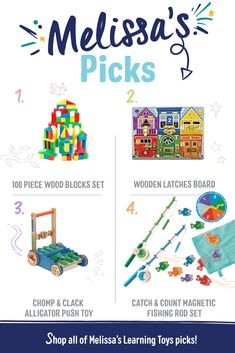 From puzzles to activity pads, these are Melissa's favorite learning toys for all ages! #PowerofPlay  #melissaanddoug #melissaanddougtoys #openededplay #openendedtoys #learningthroughplay #kidsactivities #toddleractivities #playallday #educationaltoys #learningtoys #developmentaltoys #playmatters Educational Activities, Toddler Activities, Toddler Toys, Baby Toys, Latch Board, Push Toys, Developmental Toys, Learning Through Play, Learning Toys