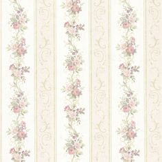 992-68303-Lorelai Light Green Floral Stripe wallpaper