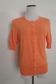 ANN TAYLOR Sweater Coral Knit Button Down Cardigan Blouse Shirt Top Size S #AnnTaylor #Cardigan