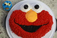 Elmo Cake and Cookie Monster Cupcake <3