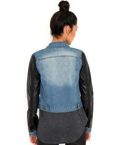 Denim Jacket With Leather Sleeves #inspiration
