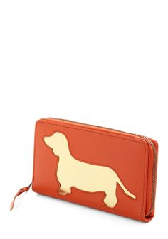 Wiener Takes All Wallet by And Mary - Orange, Gold, Animal Print, Casual, Quirky