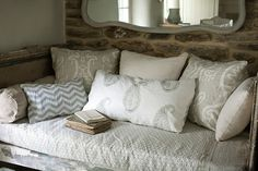 this would make a beautiful nook in master bedroom, love the fabrics