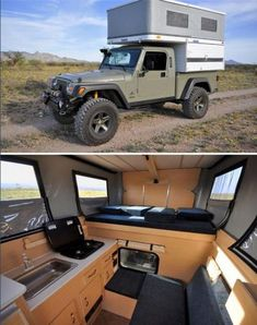 Whether you love to travel or have a passion for renovations that go beyond the simple project, these creative camper makeovers are just for you. From painting the exterior to entirely gutting the interior, these five travel trailer makeovers transformed. Pop Up Truck Campers, Truck Bed Camper, Pickup Camper, Camper Trailers, Camper Van, Interior Motorhome, Rv Interior, Jeep Brute, Vw T3 Doka