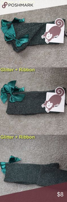 NWT Women's Socks Glitter Green Ribbon Christmas New with tag  High Quality Glitter socks ONE SIZE FITS MOST (5-9 women)  Green Ribbon on back Christmas gift Accessories Hosiery & Socks