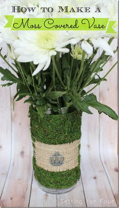 How to make a moss covered Vase - gorgeous Spring Home decor idea!