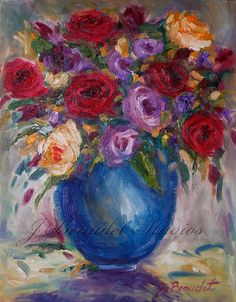Original Oil Painting Floral Roses Still life by JBeaudetStudios