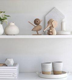 Scandinavian-inspired, minimalist shelves.