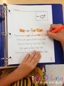 """hey this is our phonics song book song.Sample It Sunday! """"at"""" word family activities - Fluency/Poetry Binder by Miss DeCarbo Word Family Activities, Literacy Activities, Literacy Centers, Literacy Stations, Toddler Activities, Teaching Reading, Reading Fluency, Reading School, Teaching Phonics"""
