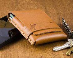 Slim Mens Wallet - Thin Wallet - Surfer - Front Pocket Wallet - Minimalist Wallet - Gift For Him - T Minimalist Leather Wallet, Slim Leather Wallet, Slim Wallet, Tan Leather, Front Pocket Wallet, Zip Around Wallet, Monogram Shop, Surfer, Card Wallet
