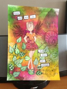 Prima paper doll stamp, Dylusions inks, stamps & various stencils.