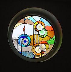 Rond glas in lood raam - eigen ontwerp.