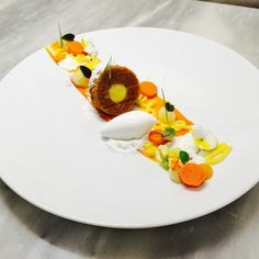 Tropical Carrot Cake, Passion Fruit Curd, Coconut sorbet, Carrot Candied, Mango Fluid Gel, Coconut Snow - The ChefsTalk Project