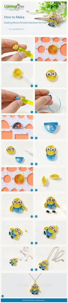Tutorial for Quilling Minion Pendant Necklace for Kids from http://LC.Pandahall.com
