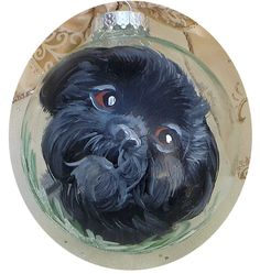 Custom Black Shih Tzu Hand Painted Ornament by LisaDeFeoArt