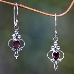 Garnet dangle earrings, 'Crimson Tears'. Shop from #UNICEFMarket and help save the lives of children around the world.