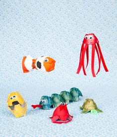 Sea animals from egg cartons