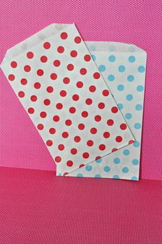 24 Red and Blue Polka Dot Favor Bags Paper by EnchantedFrogEvents, $5.50