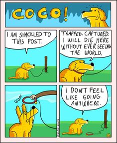 Pessimistic Comic Strips About Coco The Jolly Dog - Neatorama