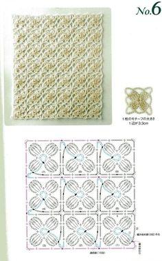 Stitch small motifs: from N 6543 crochet 2008 Crochet Squares, Crochet Motif Patterns, Crochet Diagram, Crochet Chart, Filet Crochet, Stitch Patterns, Lace Patterns, Crochet Gratis, Crochet Diy