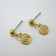 Gold shining swirl nickel free earrings, surgical steel earrings, small drop earrings, surgical steel post, simple earrings, short dangle by AndesBeads on Etsy