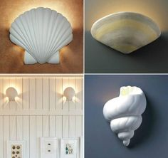 De-Light-ful shell wall sconce lights in different shapes and finishes! Featured here:  http://www.completely-coastal.com/2016/01/shell-wall-sconce-lights.html
