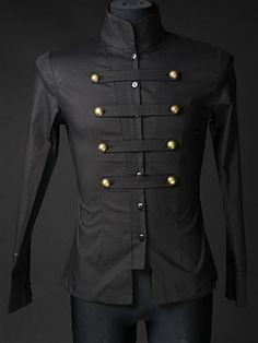 Dracula Clothing - Black Cotton Naval Shirt #goth #gothic #punk #punkrock #rockabilly #psychobilly #pinup #inked #alternative #alternativefashion #fashion #altstyle #altfashion #clothing #clothes #vintage #noir #infectiousthreads #horrorpunk #horror #steampunk #zombies #gothicclothing #gothclothing #gothicclothes #gothclothes #shrineclothing