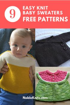9 Easy Knit Baby Sweaters to Cast on Now Source by nobleknits Sweaters Easy Baby Knitting Patterns, Baby Cardigan Knitting Pattern Free, Baby Sweater Patterns, Knit Baby Sweaters, Knitting For Kids, Knitting For Beginners, Free Knitting, Baby Knits, Knitted Baby