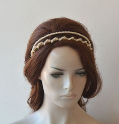 Crowns and Tiaras Wedding Pearl and Crystal Headpiece Bridal Double Headband Tiara Bride Hair Accessories Pearl Hair Vine Hair Piece Wedding Tiara Hairstyles, Bride Hairstyles, Sweet 16, Wedding Accessories For Bride, Bridal Accessories, Wedding Jewelry, Double Headband, Bride Tiara, Wedding Hair Pieces