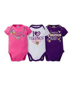 86e2d1cc9deb This Minnesota Vikings Pink Short-Sleeve Bodysuit Set - Infant is perfect!   zulilyfinds