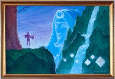 """Invocation"" by Gilbert Williams -Visionary Art - for sale on Iasos. #vision; waterfall; tree; man; sky;"