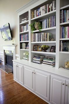 Built-in bookshelves with ledge.
