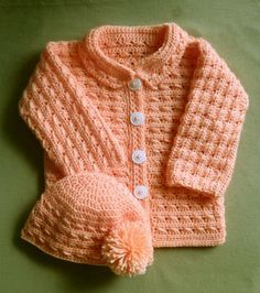 Baby girl sweater cardigan free crochet pattern if i could make baby girl or boy sweater jacket and hat crochet pattern 24 months fandeluxe Images