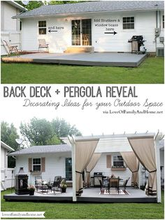 Back Deck + Pergola Reveal - Decorating Ideas for your Outdoor Space via LoveOfF. Back Deck + Perg Back Deck Decorating, Patio Decorating Ideas On A Budget, Outdoor Spaces, Outdoor Living, Budget Patio, Backyard Ideas On A Budget, Inexpensive Patio Ideas, Deck With Pergola, Pergola Ideas