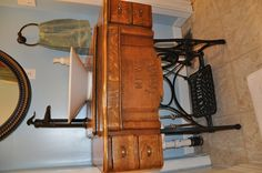 We just turned this old sewing Machine into our bathroom sink ! I Love it ! bathroom downstair, bathroom sinks
