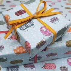 Four sheets of the Sheep in the Snow Wrapping Paper.  Each sheet measures 50cm x 70cm.  The paper is approved by Forest Stewardship Council (FSC) and