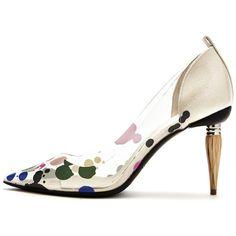 Oscar de la Renta Paint Splatter Pvc Mariacarla Pumps ($890) ❤ liked on Polyvore featuring shoes, pumps, clear high heel shoes, multi color shoes, multi coloured shoes, flexible shoes and multi-color pumps