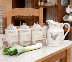 French Hen Tea Coffee Sugar Caddies in Wire Holder £34.99 - Country Kitchen - Tea Coffee Sugar Storage country style home accessories